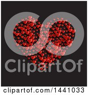 Cluster Of Red Hearts Forming A Big Heart On Black