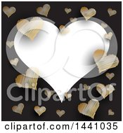White Heart Text Space Frame With Golden Scribble Hearts On Black