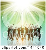 Clipart Of A Group Of Silhouetted People Dancing Over Green With Lights Royalty Free Vector Illustration