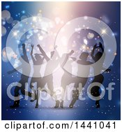 Clipart Of A Group Of Silhouetted People Dancing Over Blue Royalty Free Vector Illustration