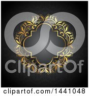 Clipart Of A Beautiful Ornate Golden Floral Frame And Text Space Invitation Background Royalty Free Vector Illustration