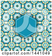 Clipart Of A Blue Frame And Text Space Patterned Invitation Background Royalty Free Vector Illustration