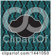 Clipart Of A Frame And Text Space Blue Pattern Invitation Background Royalty Free Vector Illustration