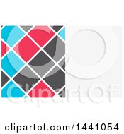 White Blue Gray And Pink Tile Business Card Design With Text Space