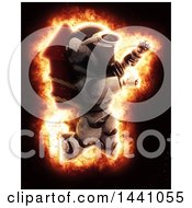Poster, Art Print Of 3d Robot Strapped To A Rocket Firework With An Explosion Effect