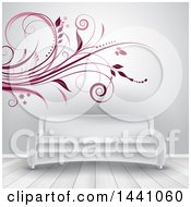 Clipart Of A Flourish Wall Decal Design Behind A Sofa Royalty Free Vector Illustration by KJ Pargeter