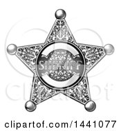 Clipart Of A Black And White Vintage Etched Engraved Sheriff Star Badge Royalty Free Vector Illustration
