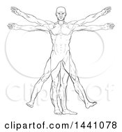 Clipart Of A Black And White Leonard Da Vinci Vitruvian Man Royalty Free Vector Illustration