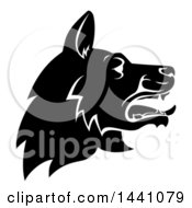 Clipart Of A Black And White Profiled German Shepherd Dog Face Royalty Free Vector Illustration