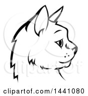 Clipart Of A Black And White Profiled Cat Face Royalty Free Vector Illustration
