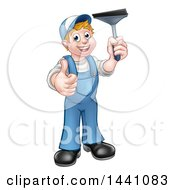Clipart Of A Cartoon Full Length Happy White Male Window Cleaner Giving A Thumb Up And Holding A Squeegee Royalty Free Vector Illustration