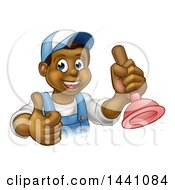 Clipart Of A Cartoon Happy Black Male Plumber Holding A Plunger And Giving A Thumb Up Royalty Free Vector Illustration