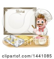 Clipart Of A Cartoon Happy White Male Chef Baker Mixing Frosting And Making Cookies Under A Menu Royalty Free Vector Illustration