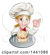 Clipart Of A Cartoon Happy White Female Chef Baker Gesturing Ok And Holding A Cupcake On A Tray Royalty Free Vector Illustration by AtStockIllustration