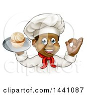 Clipart Of A Cartoon Happy Black Male Chef Baker Gesturing Ok And Holding A Cupcake On A Tray Royalty Free Vector Illustration by AtStockIllustration