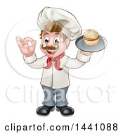 Clipart Of A Cartoon Full Length Happy White Male Chef Baker Gesturing Ok And Holding A Cupcake On A Tray Royalty Free Vector Illustration by AtStockIllustration