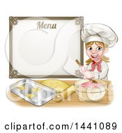 Clipart Of A Cartoon Happy White Female Chef Baker Mixing Frosting And Making Cookies Under A Menu Royalty Free Vector Illustration