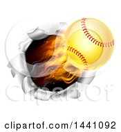 Clipart Of A 3d Flying And Blazing Softball With A Trail Of Flames Breaking Through A Wall Royalty Free Vector Illustration