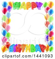 Clipart Of A Colorful Happy Birthday Greeting Border With Confetti Ribbons And Party Balloons Royalty Free Vector Illustration