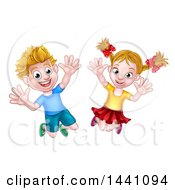 Cartoon Happy Excited Blond Caucasian Boy And Girl Jumping