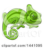 Clipart Of A Cartoon Happy Green Chameleon Lizard Royalty Free Vector Illustration by AtStockIllustration