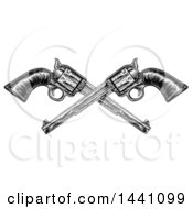 Clipart Of Black And White Woodcut Etched Or Engraved Crossed Vintage Pistols Royalty Free Vector Illustration