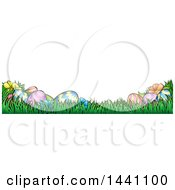 Clipart Of A Banner Of Easter Eggs And Flowers In Grass Royalty Free Vector Illustration