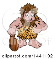 Clipart Of A Cartoon Happy Caveman Holding A Club And Giving A Thumb Up Royalty Free Vector Illustration by AtStockIllustration