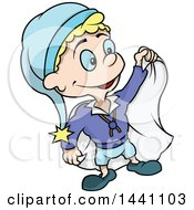 Clipart Of A Cartoon Blond Male Dwarf With A Cape Royalty Free Vector Illustration by dero