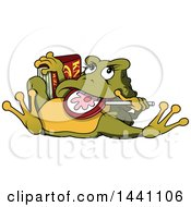 Clipart Of A Cartoon Toad Eating A Lollipop And Holding A Book Royalty Free Vector Illustration by dero