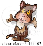 Clipart Of A Cartoon Brown Cat Welcoming Royalty Free Vector Illustration