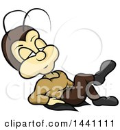 Clipart Of A Cartoon Cricket Leaning Back Royalty Free Vector Illustration by dero