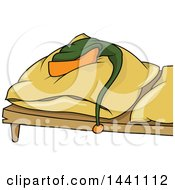 Clipart Of A Cartoon Hat Resting On A Bed Pillow Royalty Free Vector Illustration
