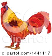 Clipart Of A Colorful Rooster Royalty Free Vector Illustration by Pushkin