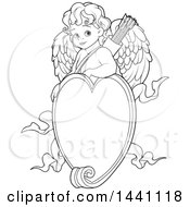 Clipart Of A Cartoon Black And White Lineart Baby Cupid Over A Valentine Love Heart Frame Royalty Free Vector Illustration by Pushkin