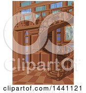 Clipart Of A Spiral Staircase And Library Interior Royalty Free Vector Illustration
