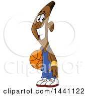 Cartoon Happy Smiling Black Male Basketball Player Holding A Ball
