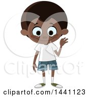 Clipart Of A Cartoon Friendly Black Boy Waving Royalty Free Vector Illustration by yayayoyo
