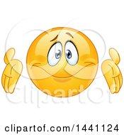 Clipart Of A Cartoon Yellow Emoji Smiley Emoticon Shrugging Royalty Free Vector Illustration by yayayoyo