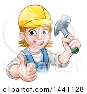 Poster, Art Print Of Cartoon Happy White Female Carpenter Holding Up A Hammer And Giving A Thumb Up