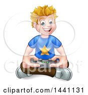 Clipart Of A Cartoon Happy Blond White Gamer Guy Holding A Remote And Sitting On The Floor Royalty Free Vector Illustration