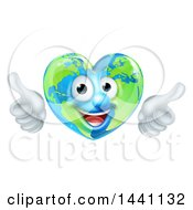 Happy Heart Shaped Earth Globe Character Giving Two Thumbs Up