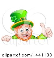 Clipart Of A Happy St Patricks Day Leprechaun Giving A Thumb Up Over A Sign Royalty Free Vector Illustration