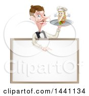 Cartoon Caucasian Male Waiter With A Curling Mustache Holding A Kebab Sandwich Character On A Tray Pointing Down Over A Blank Sign