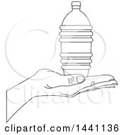 Black And White Lineart Hand Holding Bottled Water