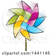 Clipart Of A Colorful Spinning Pinwheel Royalty Free Vector Illustration