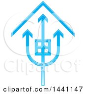 Clipart Of A Blue Trident House Icon Royalty Free Vector Illustration by Lal Perera