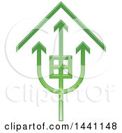 Clipart Of A Green Trident House Icon Royalty Free Vector Illustration by Lal Perera