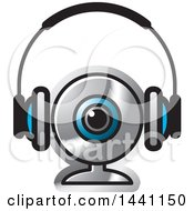 Clipart Of A Pair Of Headphones And A Webcam Royalty Free Vector Illustration by Lal Perera