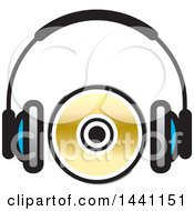 Clipart Of A Pair Of Headphones And A Cd Or Dvd Royalty Free Vector Illustration by Lal Perera